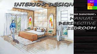 getlinkyoutube.com-Manual Rendering | 2-point Interior Design Perspective Drawing & Rendering | Tutorial | Watercolour