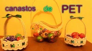 Canastito de pascua con botellas (PET )