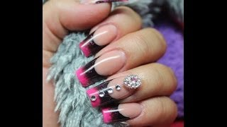 getlinkyoutube.com-ACRYLIC NAILS - Reverse smile line ombre french