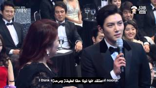 getlinkyoutube.com-Ji Chang Wook And Park Min Young at 2014 KBS Drama Awards   ArabicSub
