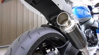 getlinkyoutube.com-GSX-R750 LCIショートカーボンマフラー「バッフルなし」
