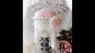getlinkyoutube.com-Shabby Chic Etched Glass Mason Jar Pin Cushion