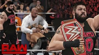 getlinkyoutube.com-WWE RAW 2K16 - Triple H Returns Attack Reigns & Rollins and Kevin Owens Wins WWE Universal Title!