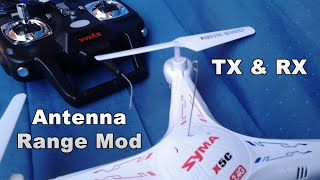 getlinkyoutube.com-Syma X5C: Easy Antenna Range Mod - TX & RX - Very High Flight!