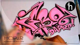 getlinkyoutube.com-Drawing graffiti on paper #7 | Name request | Debo Da Pro