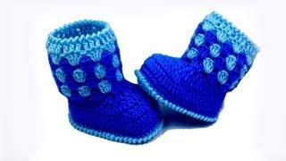 getlinkyoutube.com-Baby booties crochet for beginners //Vasilisa
