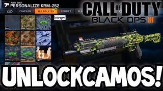 BLACK OPS 3 HOW TO UNLOCK ALL CAMOS! UNLOCK ALL GUN CAMOS (BO3 GOLD & DIAMOND CAMO)