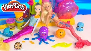 getlinkyoutube.com-Playdoh Ocean Animal Tools Set Unboxing with Disney Frozen Queen Elsa and Barbie Mermaid Dolls