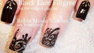 getlinkyoutube.com-Nail Art Tutorial | Easy Nail design Ideas | Formal Black lace nail Art