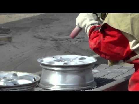 blasting aluminum rims
