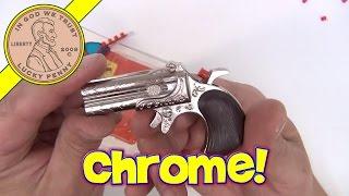 getlinkyoutube.com-The Gambler Mini Derringer Cap Gun Pistol Black Handle Chrome Stock - 6 Die Cast Toy Gun Collection