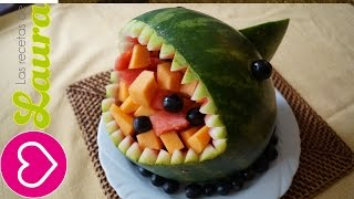 getlinkyoutube.com-Como hacer un TIBURÓN de SANDIA kawaii - How to make a watermelon SHARK