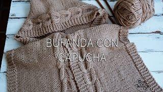 getlinkyoutube.com-Bufanda con Capucha en dos agujas (Todas las Tallas)