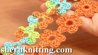 getlinkyoutube.com-Crochet Floral Cord Lace Tutorial 51 Small Six-Petal Flowers