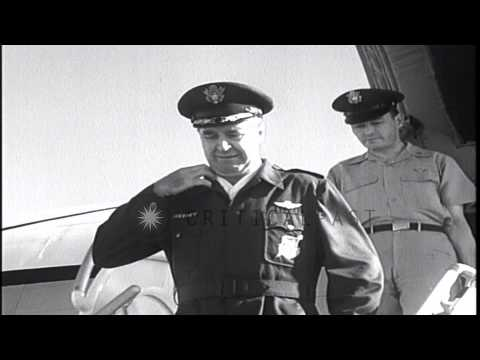 General Walter C Sweeney arrives at Homstead HD Stock Footage