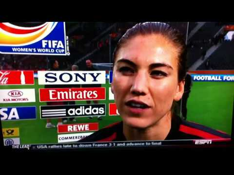 "Hope Solo ""we are Damm Good"" Women 2011 World cup."