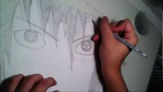 getlinkyoutube.com-Naruto - Sasuke with the Eternal Mangekyou Sharingan drawing/Zeichnung