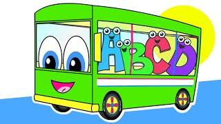 getlinkyoutube.com-The Wheels On The Bus | Green Bus Version | Nursery Rhymes | HD