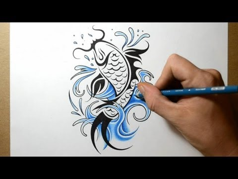 How to Draw a Koi Fish Tattoo Design