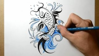 getlinkyoutube.com-How to Draw a Koi Fish Tattoo Design