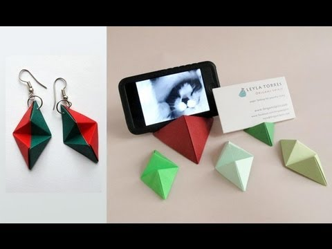 Origami Double Pyramid Business Card Stand - Base para tarjetas o iPhone