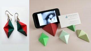 getlinkyoutube.com-Origami Double Pyramid Business Card Stand - Base para tarjetas o iPhone