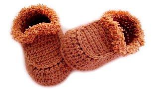 getlinkyoutube.com-Детские тапочки мокасины крючком