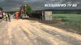 A7 - 10 Stunden Vollsperrung nach LKW-Unfall 21.06.2013