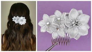 getlinkyoutube.com-DIY Ribbon flower I Wedding hair comb I Kanzashi flower tutorial