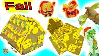 getlinkyoutube.com-Fail Video - Making Spongebob Squarepants Holiday Food Gingerbread House Cookie Kit