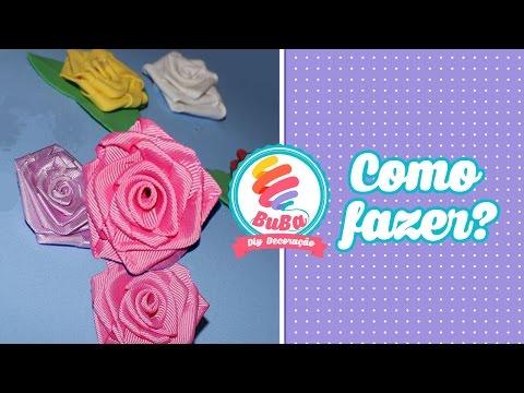Flor de Fita - Tutorial de Rosa Feita em Fita de Cetim (satin ribbon rose)