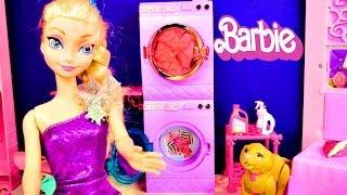 getlinkyoutube.com-Barbie Glam Laundry Frozen Princess Anna and Elsa Wash Littlest Pet Shop Play Doh Toys Videos