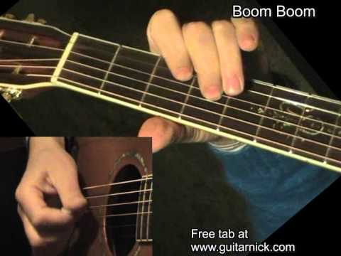 Boom Boom, John Lee Hooker - flatpicking blues, acoustic guitar lesson &amp; TAB! Learn to play