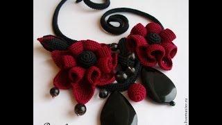 getlinkyoutube.com-Вязаные украшения - колье. Сrochet jewelry - necklace