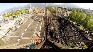getlinkyoutube.com-PNE Playland Wooden Roller Coaster POV CRAZY Airtime Classic Woodie Vancouver Canada