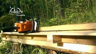 getlinkyoutube.com-Пилорама из бензопилы двух досок и саморезов   Homemade Chainsaw Milling