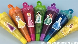 getlinkyoutube.com-Clay Slime Surprise Toys Disney Princess Cinderella Rapunzel Snow White Jasmine Aurora Ariel Belle