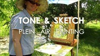 getlinkyoutube.com-Plein Air Painting Demo - Easy Way to Tone & Sketch in Oil