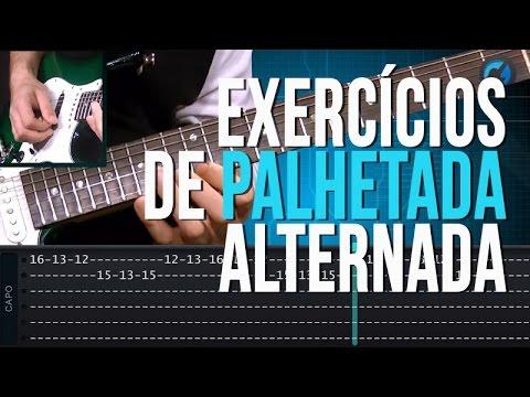 Exerc�cios de Palhetada Alternada (aula t�cnica de guitarra)