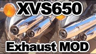 getlinkyoutube.com-Yamaha Dragstar XVS650 Exhaust Mod OEM