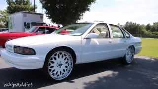 getlinkyoutube.com-WhipAddict: 96' Chevrolet Impala SS squattin white Forgiato Granos, White on White