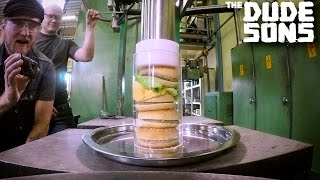 getlinkyoutube.com-Ultimate Hamburger Challenge with Hydraulic Press Channel!