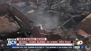 Several homes burned on Scenic View Road during Alpine fire