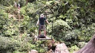 getlinkyoutube.com-Ciudad Perdida: crossing the river using rope and pulley