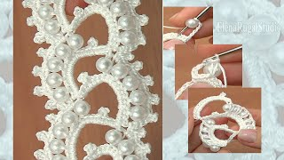 getlinkyoutube.com-Crochet Beaded Lace Tape Урок 18 Нарядная лента с бусинками