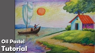 getlinkyoutube.com-How to Draw A Riverside Landscape with Oil Pastels | Episode- 4