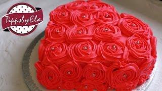 getlinkyoutube.com-Muttertagstorte Rosen Torte Herztorte Valentinstag Torte Sahne Torte selber machen Anleitung