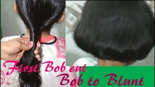 Easy pony||Bob cut||and then||Bob to||blunt cutting on hairs width=