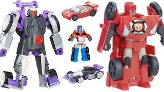 getlinkyoutube.com-New Transformers Rescue Bots Toys Morbot, Optimus Prime Racing Trailer, Sideswipe Robots in Disguise