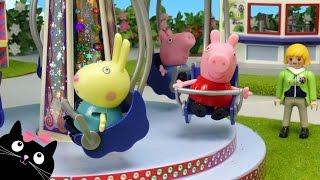 getlinkyoutube.com-Peppa Pig y George van al Parque de Atracciones de Playmobil - Juguetes de Peppa Pig